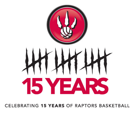 Toronto Raptors Logo Anniversary Logo (2009/10) - Toronto Raptors 15th Season logo - 15 years scratched out by a raptor claw SportsLogos.Net