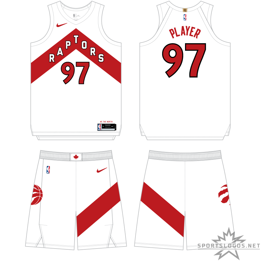 Toronto Raptors Uniform Primary White Uniform (2020/21-Pres) - For the 2020-21 NBA season, the Toronto Raptors introduced a redesigned set of uniforms focused around the Chevron look which was previously used on their alternate uniforms. Shown here is the white Association Edition uniform which features a red chevron with RAPTORS arched across in white, the chevron design appears again on the side of the shorts. SportsLogos.Net