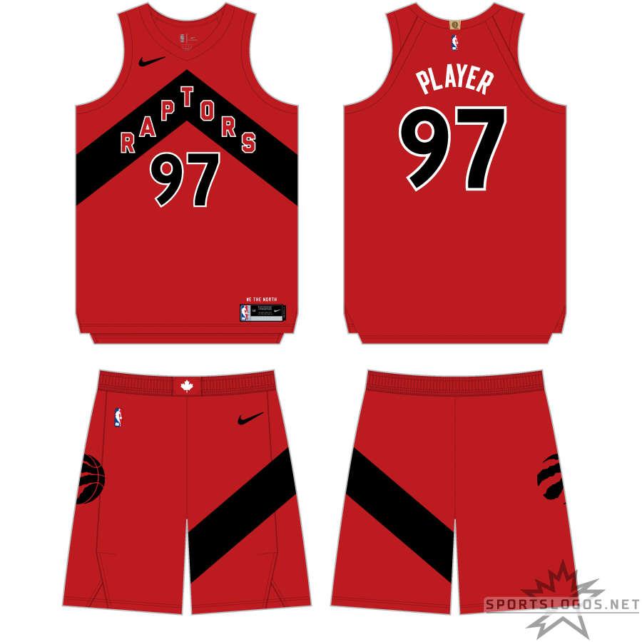 Toronto Raptors Uniform Primary Dark Uniform (2020/21-Pres) - For the 2020-21 NBA season, the Toronto Raptors introduced a redesigned set of uniforms focused around the Chevron look which was previously used on their alternate uniforms. Shown here is the red Icon Edition uniform which features a black chevron with RAPTORS arched across in red, the chevron design appears again on the side of the shorts. SportsLogos.Net