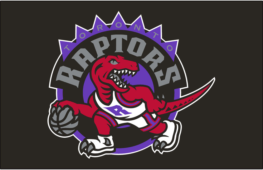 Toronto Raptors Logo Primary Dark Logo (1995/96-2007/08) - Primary Logo on Black SportsLogos.Net