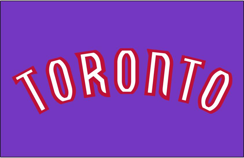 Toronto Raptors Logo Jersey Logo (1999/00-2002/03) - 'TORONTO' in white outlined in red.  Worn on road uniform. SportsLogos.Net