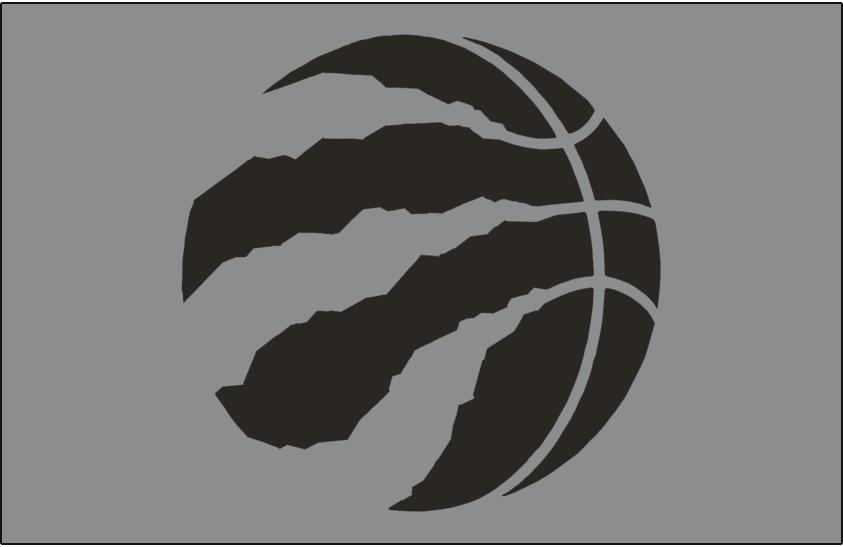 Toronto Raptors Logo Alt on Dark Logo (2015/16-2019/20) - Black basketball claw on silver SportsLogos.Net