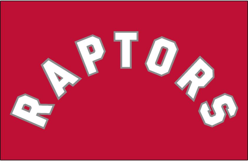 Toronto Raptors Logo Jersey Logo (2015/16-2019/20) - RAPTORS arched in white with silver trim on red, worn on Toronto Raptors road jersey starting in 2015-16 season SportsLogos.Net