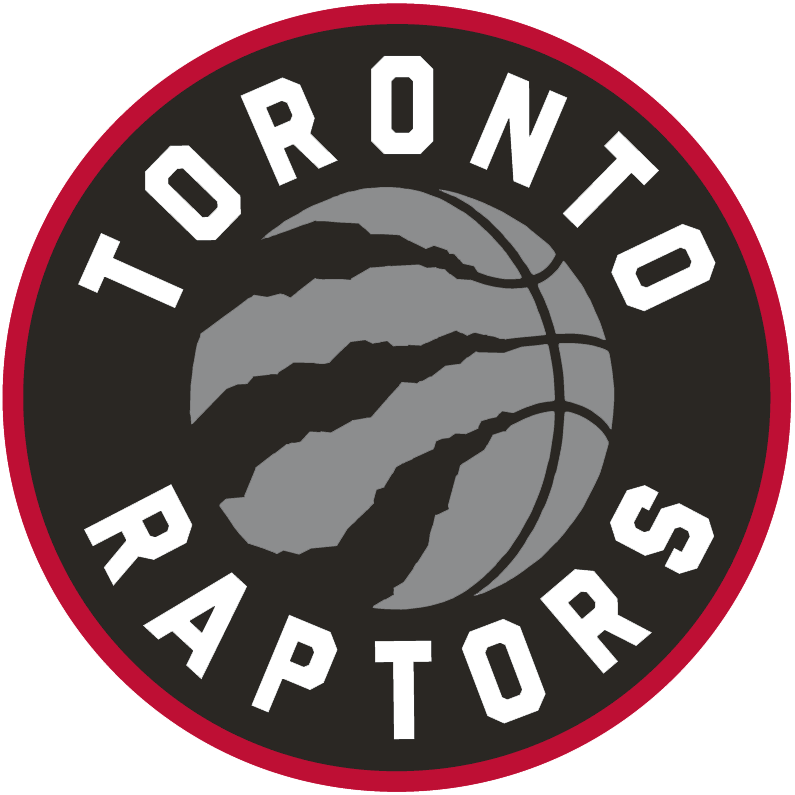 Toronto Raptors Logo Primary Logo (2015/16-2019/20) - A silver basketball with claw marks, team name around it in white on black. Circle outlined in red SportsLogos.Net