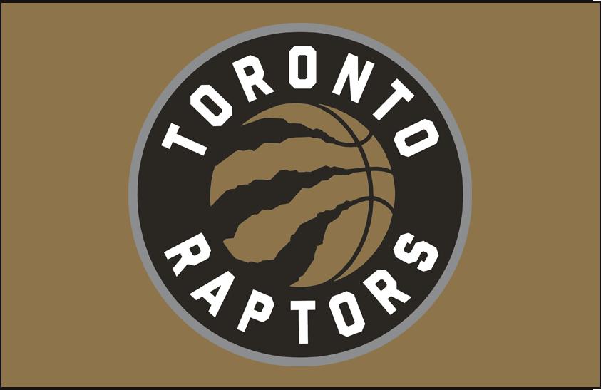 Toronto Raptors Logo Primary Dark Logo (2015/16-2019/20) - Primary on Gold SportsLogos.Net