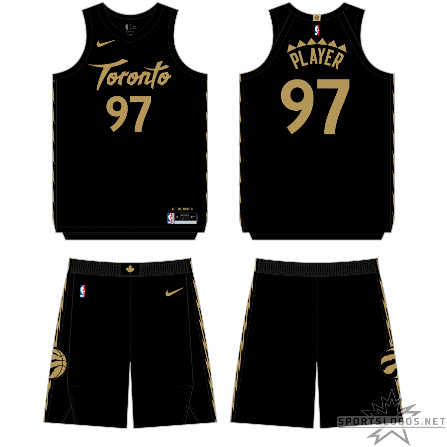 Toronto Raptors Uniform Alternate Uniform (2019/20) - For the 2019-20 season, the Raptors contunued with the black and gold Drake theme for their City Edition uniform. Switching back to black as the base colour the uniform uses a Toronto wordmark similar in style to what the team wore on their expansion uniforms, now in gold. Down the side of the shorts is a single gold jagged line, again a tribute to the original team uniforms SportsLogos.Net