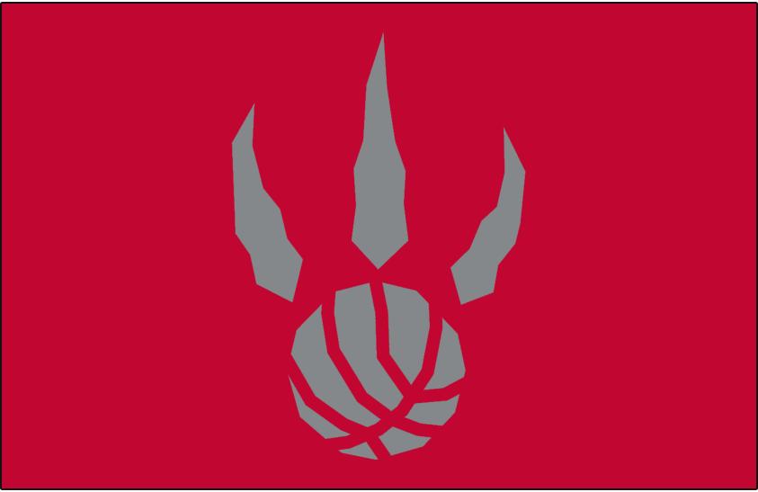 Toronto Raptors Logo Alt on Dark Logo (1995/96-2010/11) - Silver basketball claw on red SportsLogos.Net