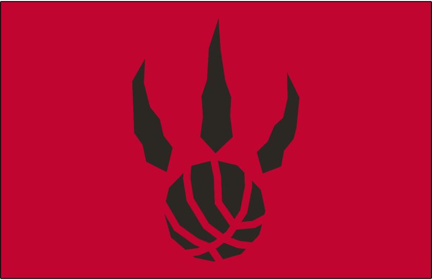 Toronto Raptors Logo Alt on Dark Logo (1995/96-2010/11) - Black basketball claw on red SportsLogos.Net