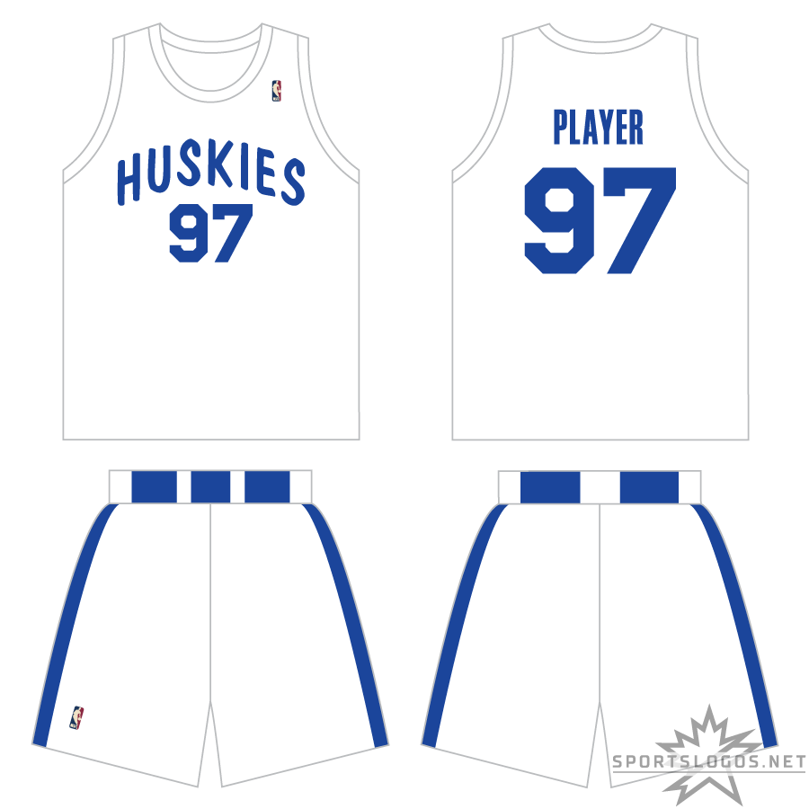 Toronto Raptors Uniform Throwback Uniform (2009/10) - Periodically throughout the 2009-10 NBA season, the Toronto Raptors wore blue and white uniforms based off those worn originally by the 1946-47 Toronto Huskies of the Basketball Association of America. The uniform features the HUSKIES wordmark arched across the jersey in blue with blue stripes around the waist and down each side of the shorts. SportsLogos.Net