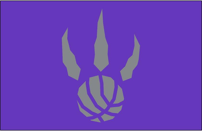 Toronto Raptors Logo Alt on Dark Logo (1995/96-2005/06) - Silver basketball claw on purple SportsLogos.Net