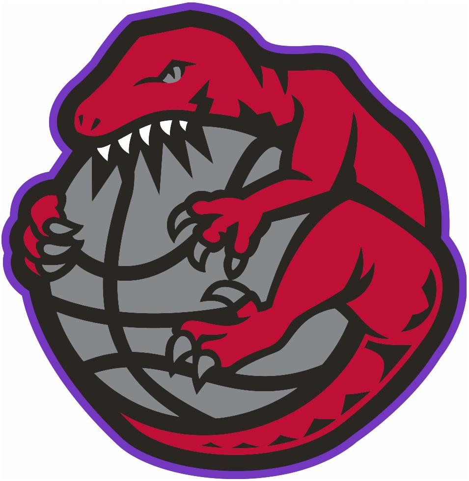 Toronto Raptors Logo Alternate Logo (1995/96-1997/98) - A Raptor wrapped around and chewing a basketball SportsLogos.Net