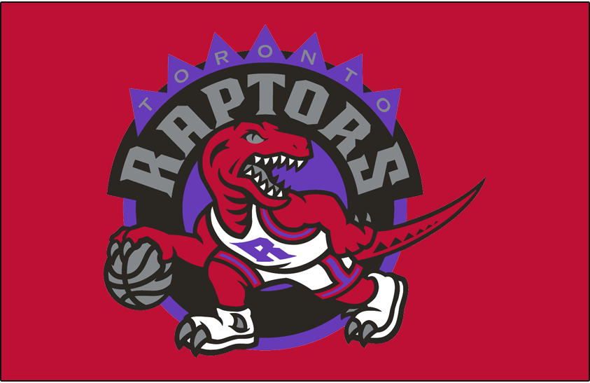 Toronto Raptors Logo Primary Dark Logo (1995/96-2007/08) - Primary Logo on Red SportsLogos.Net