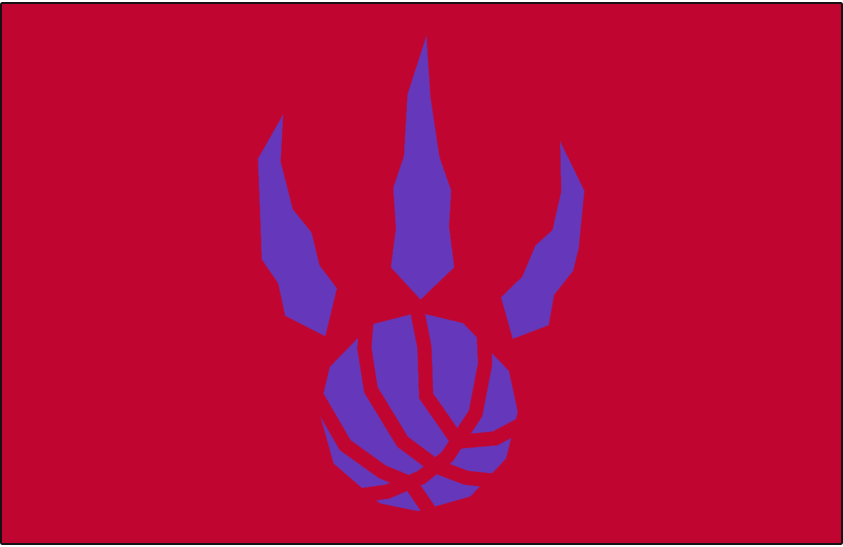 Toronto Raptors Logo Alt on Dark Logo (1995/96-2005/06) - Purple basketball claw on red SportsLogos.Net