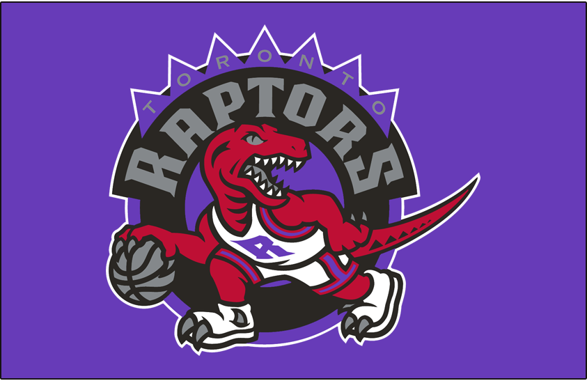 Toronto Raptors Logo Primary Dark Logo (1995/96-2007/08) - Primary Logo on Purple SportsLogos.Net