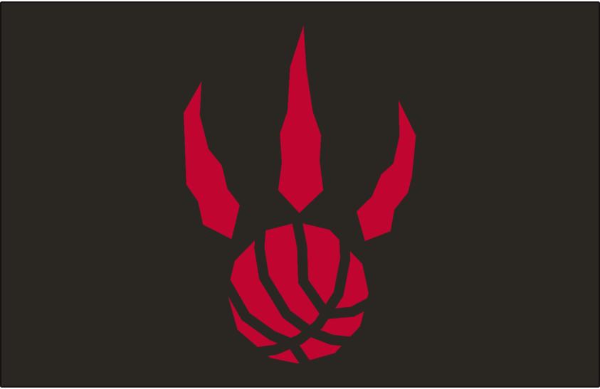 Toronto Raptors Logo Alt on Dark Logo (1995/96-2010/11) - Red basketball claw on black SportsLogos.Net