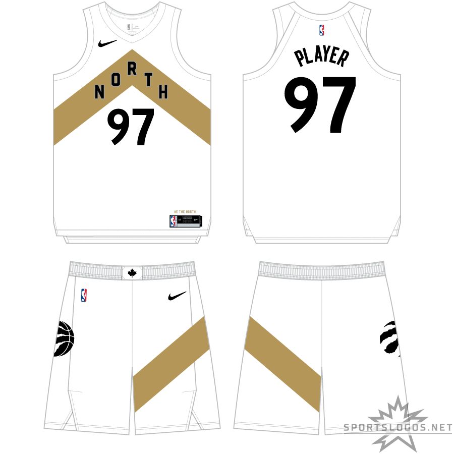 Toronto Raptors Uniform Alternate Uniform (2018/19) - For the 2018-19 season, the Raptors contunued with the black and gold Drake theme for their City Edition uniform. Switching to white as the base colour, the uniform again places a chevron (pointing to the north) across the front with NORTH inside in black, player number below in black. This chevron design is repeated on the side of the shorts. SportsLogos.Net