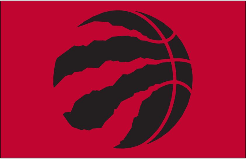 Toronto Raptors Logo Alt on Dark Logo (2015/16-Pres) - Black basketball claw on red SportsLogos.Net
