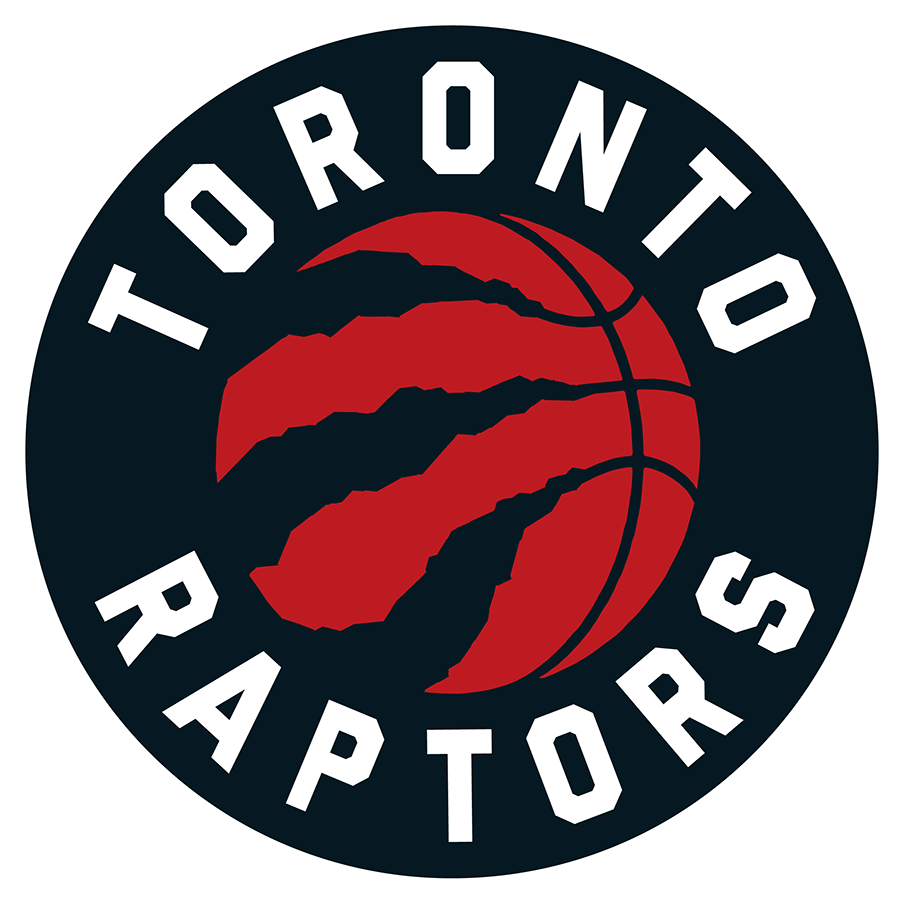 Toronto Raptors Logo Primary Logo (2020/21-Pres) - For the 2020-2021 NBA season, the Toronto Raptors made some colour changes to their primary logo -- silver was eliminated completely from the colour scheme and the basketball was re-coloured red. Though not visible when presented on white, the outside of the logo includes a thick white border SportsLogos.Net