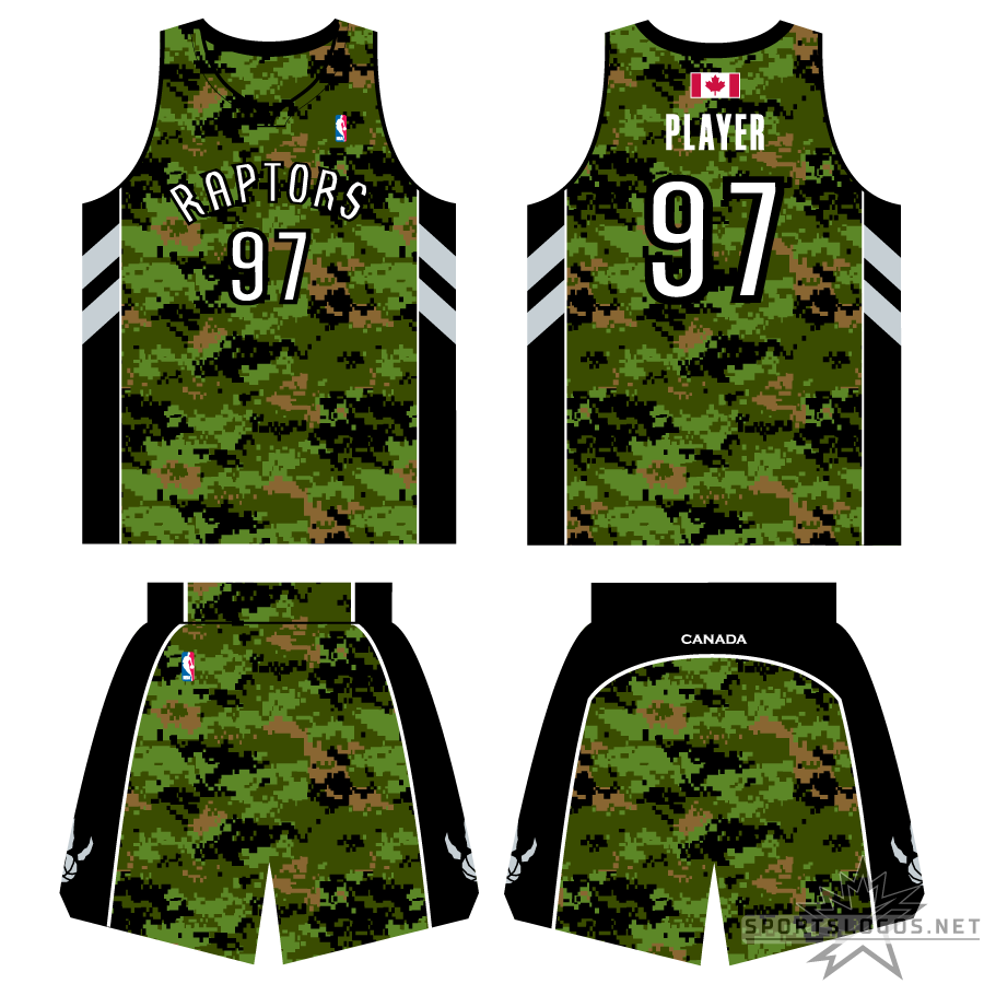 Toronto Raptors Uniform Special Event Uniform (2010/11) - To celebrate the Canadian Armed Forces, the Toronto Raptors wore this green camouflage pattern version of their usual home and road set. The uniform included a Canadian flag above the player names on the back of the jersey and CANADA written across the back of the shorts. SportsLogos.Net