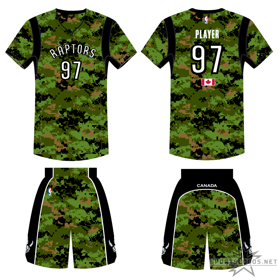 Toronto Raptors Uniform Special Event Uniform (2013/14) - To celebrate the Canadian Armed Forces, the Toronto Raptors wore this green camouflage pattern version of their usual home and road set in 2014 with the addition of sleeves to the jersey. The uniform included a Canadian flag below the player number on the back of the jersey and CANADA written across the back of the shorts. SportsLogos.Net