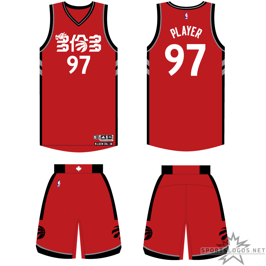 Toronto Raptors Uniform Holiday Uniform (2016/17) - To celebrate the Chinese (or Lunar) New Year, the Toronto Raptors wore this altered version of their usual red Icon Edition set in 2017. The design is identical to the usual set but with the Raptors script replaced with TORONTO in Mandarin - a dragon head and the Raptors logo inserted into the characters. SportsLogos.Net