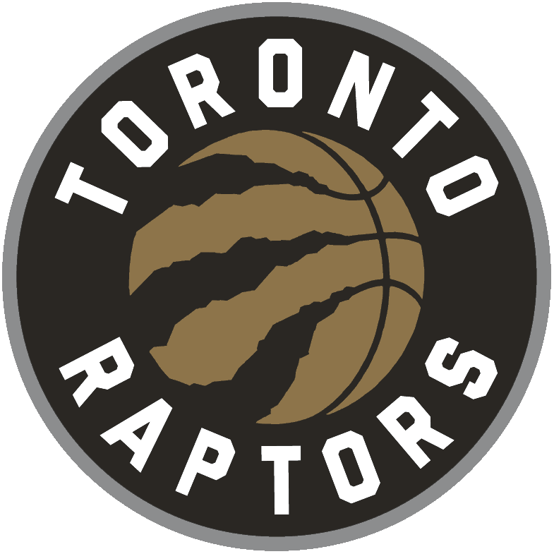 Toronto Raptors Logo Alternate Logo (2015/16-2019/20) - A gold basketball with claw marks, team name around it in white on black. Circle outlined in silver. Commonly referred to as the Drake-version of the logo SportsLogos.Net