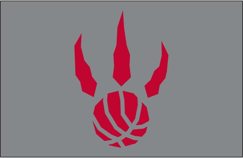 Toronto Raptors Logo Alt on Dark Logo (1995/96-2010/11) - Red basketball claw on silver SportsLogos.Net