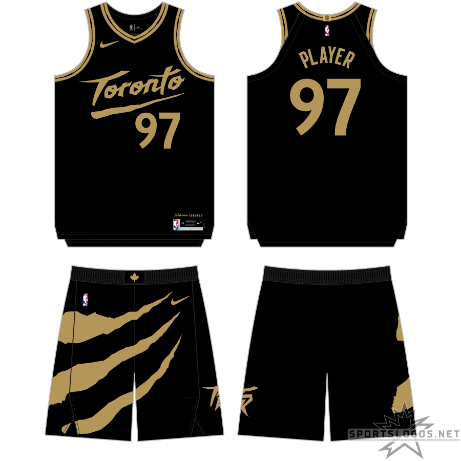 Toronto Raptors Uniform Alternate Uniform (2020/21-Pres) - For the 2020-21 season, the Raptors contunued with the black and gold Drake theme for their City Edition uniform, here the black uniform uses a Toronto wordmark similar in style to what the team wore on their expansion uniforms, now in gold. The shorts feature a large gold claw mark that goes around almost the entire front of the shorts. SportsLogos.Net