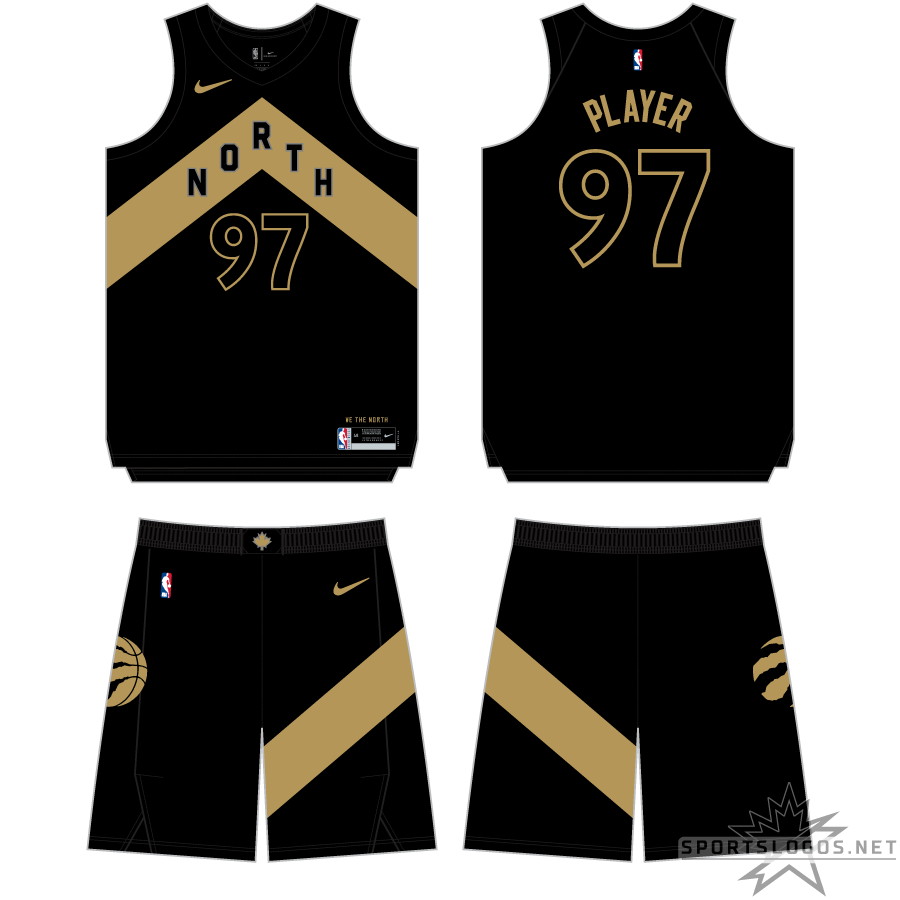 Toronto Raptors Uniform Alternate Uniform (2017/18) - For their first ever City Edition uniform in 2017-18, the Raptors continued their partnership with Drake and went with a black and gold uniform. The uniform placed a gold chevron (pointing to the north) across the front with NORTH inside in black, player numbers are also black, trimmed in gold. This chevron design is repeated on the side of the shorts. SportsLogos.Net