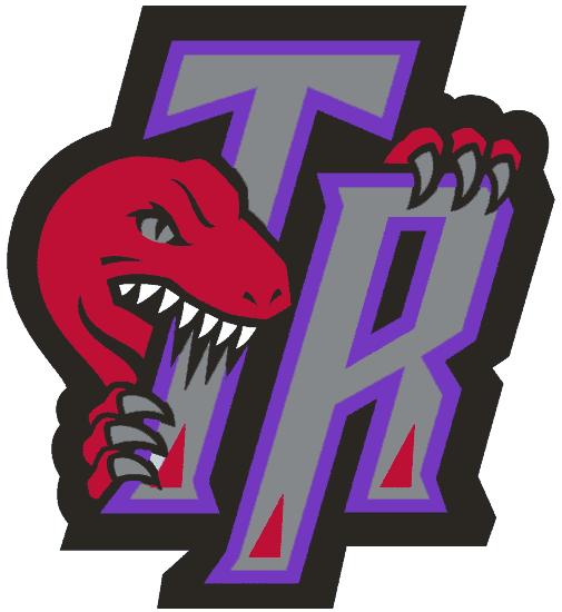 Toronto Raptors Logo Alternate Logo (1995/96-2005/06) - A dinosaur bitting the letters TR SportsLogos.Net
