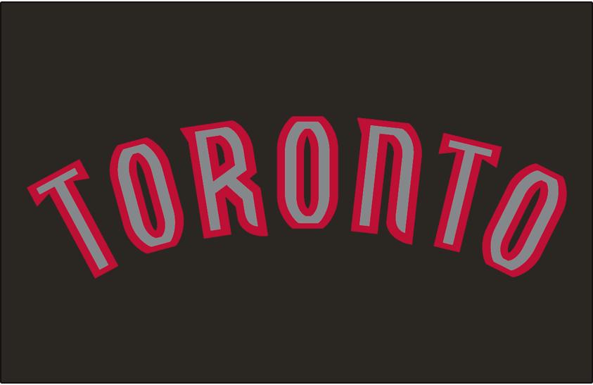 Toronto Raptors Logo Jersey Logo (2008/09-2014/15) - 'TORONTO' in silver outlined in red.  Worn on alternate uniform. SportsLogos.Net