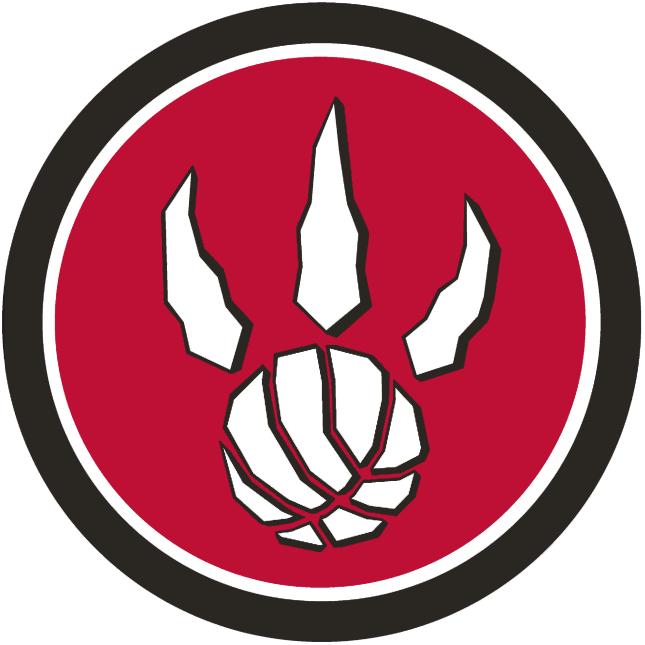 Toronto Raptors Logo Alternate Logo (2008/09-2010/11) - White dinosaur/basketball paw-print logo on a red and black circle SportsLogos.Net