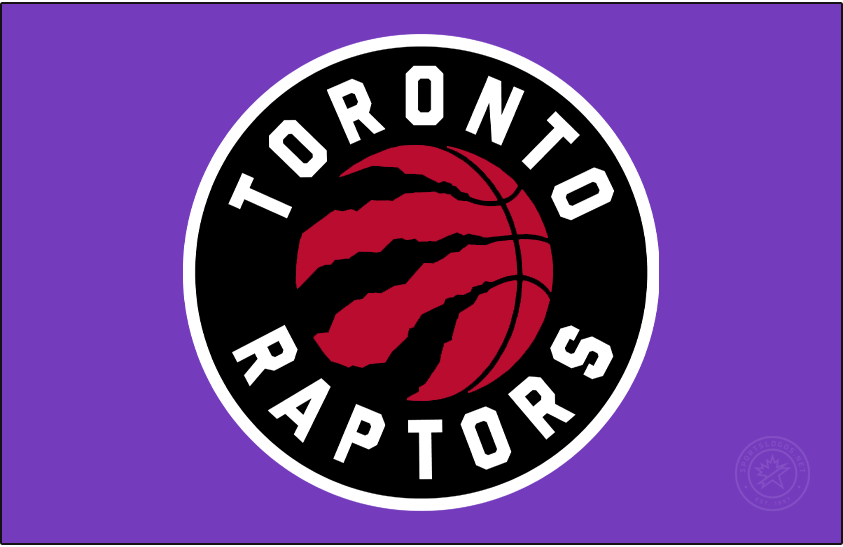 Toronto Raptors Logo Primary Dark Logo (2020/21-Pres) - For the 2020-2021 NBA season, the Toronto Raptors made some colour changes to their primary logo -- silver was eliminated completely from the colour scheme and the basketball was re-coloured red. A white border around the logo is only visible when presented on a dark background as it is here on purple. SportsLogos.Net
