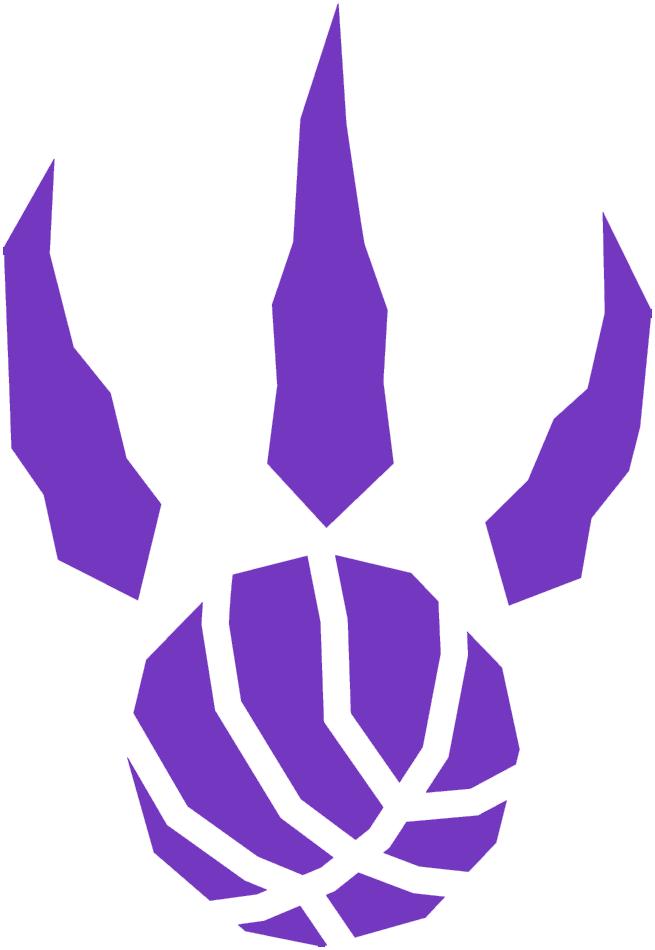 Toronto Raptors Logo Alternate Logo (1995/96-2005/06) - A purple raptor paw print with basketball seams SportsLogos.Net