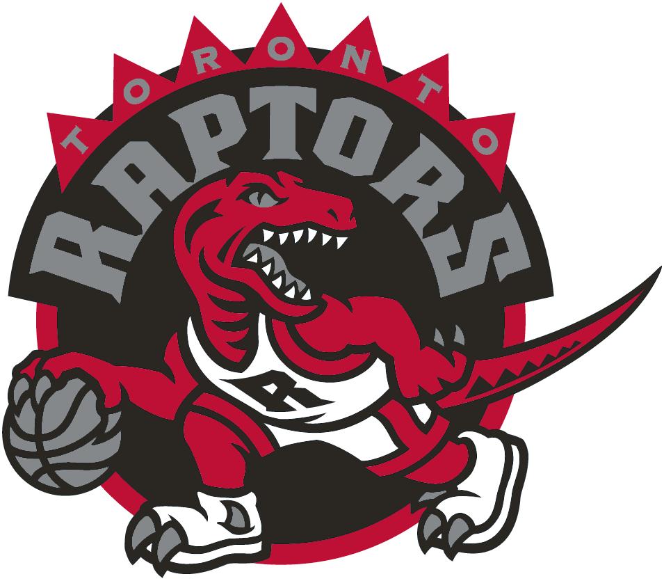 Toronto Raptors Logo Primary Logo (2008/09-2014/15) - A red raptor dribbling a basketball on a black circle SportsLogos.Net