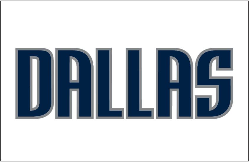 Dallas Mavericks Logo Jersey Logo (2001/02-Pres) - DALLAS in navy blue capital letters, worn on Dallas Mavericks home jersey starting in 2001-02 season SportsLogos.Net