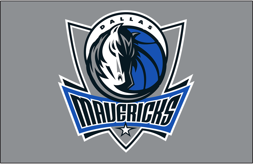 Dallas Mavericks Logo Primary Dark Logo (2017/18-Pres) - Primary Mavs logo on Silver SportsLogos.Net