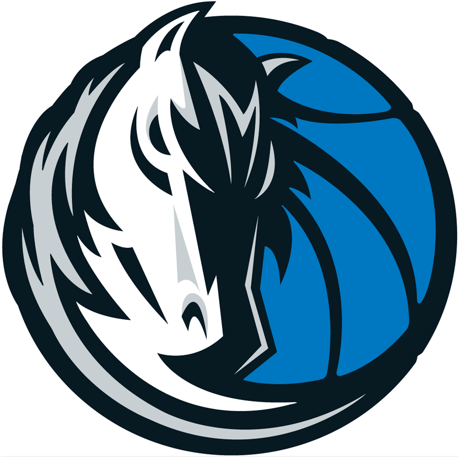 Dallas Mavericks Logo Alternate Logo (2001/02-2016/17) - A silver and white horse head on a blue basketball SportsLogos.Net