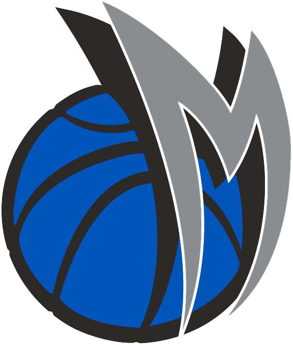 Dallas Mavericks Logo Alternate Logo (2001/02-2013/14) - A curved silver M on a blue basketball SportsLogos.Net