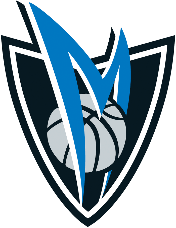 Dallas Mavericks Logo Alternate Logo (2001/02-2016/17) - A blue curved M with a silver basketball on a navy shield. SportsLogos.Net