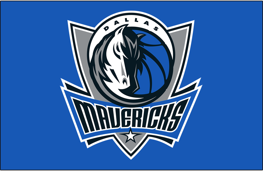 Dallas Mavericks Logo Primary Dark Logo (2001/02-2016/17) - Primary Mavs Logo on Lt. Blue SportsLogos.Net