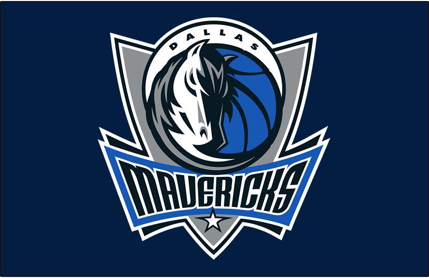 Dallas Mavericks Logo Primary Dark Logo (2001/02-2006/07) - Primary Mavs logo on Dark Blue SportsLogos.Net