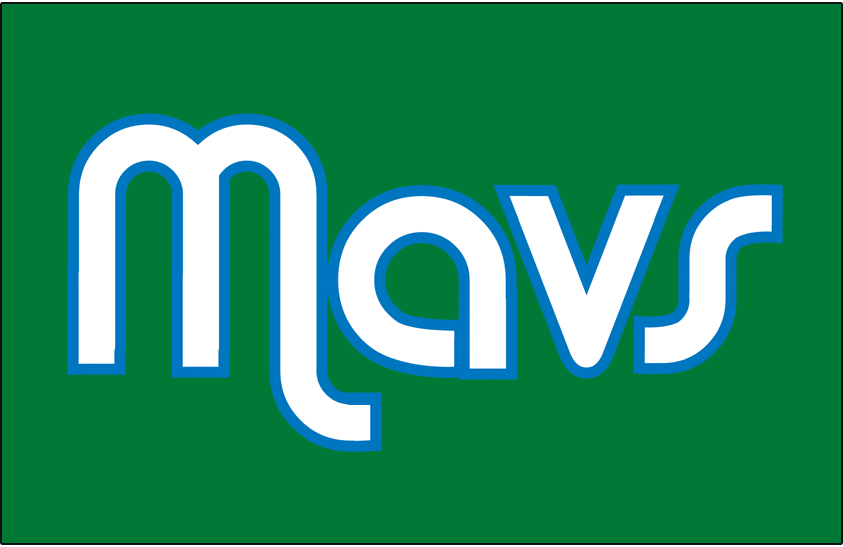 Dallas Mavericks Logo Jersey Logo (2004/05-2008/09) - Mavs in white letters outlined in blue on green, worn on the Dallas Mavericks alternate jersey from 2004-05 until 2008-09 SportsLogos.Net