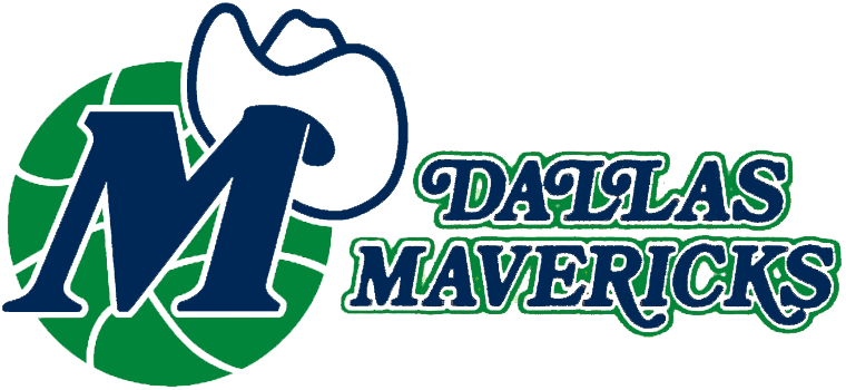Dallas Mavericks Logo Primary Logo (1980/81-1992/93) - Blue M wearing a white cowboy hat on a green basketball, team wordmark to the right in blue, white, and green SportsLogos.Net