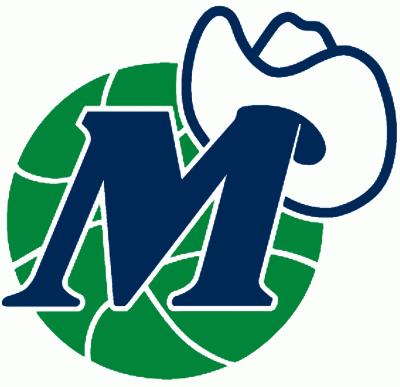 Dallas Mavericks Logo Alternate Logo (1980/81-2000/01) - M with a cowboy hat on a green basketball.  SportsLogos.Net