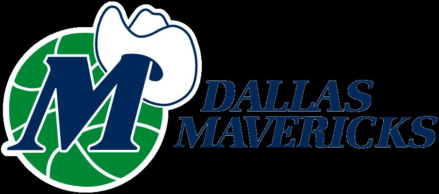 Dallas Mavericks Logo Primary Logo (1993/94-2000/01) - A white cowboy hat on a blue M on a green basketball next to script SportsLogos.Net
