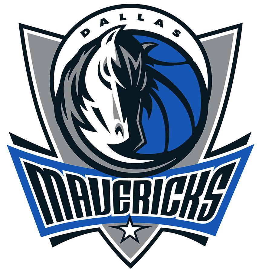 Dallas Mavericks Logo Primary Logo (2001/02-2016/17) - A shield with a horse head and a half moon with script SportsLogos.Net
