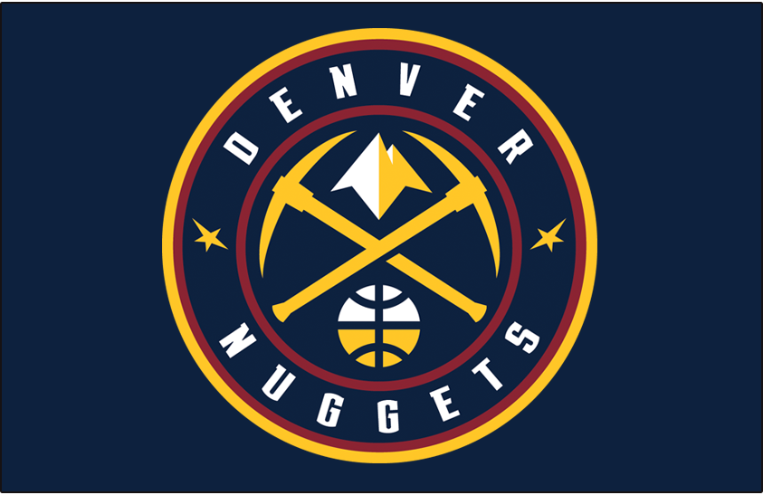 Denver Nuggets Logo Primary Dark Logo (2018/19-Pres) - Denver Nuggets global logo on dark midnight blue SportsLogos.Net