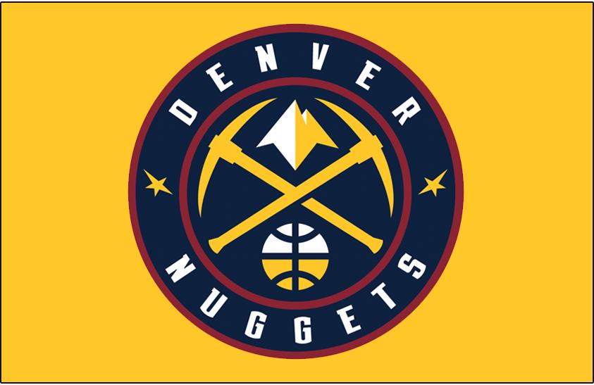 Denver Nuggets Logo Primary Dark Logo (2018/19-Pres) - Denver Nuggets global logo on gold SportsLogos.Net