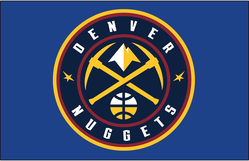 Denver Nuggets Logo Primary Dark Logo (2018/19-Pres) - Denver Nuggets global logo on light skyline blue SportsLogos.Net